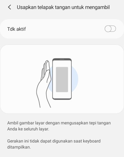 Screenshot Samsung A30s dengan Palm Swipe to Capture