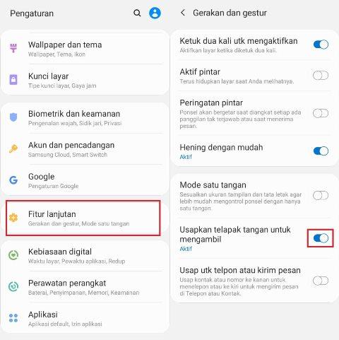 Palm Swipe to Capture Samsung A51
