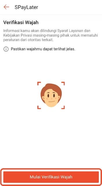Verifikasi wajah SPayaLater
