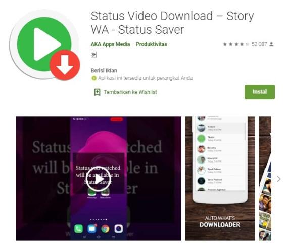 Aplikasi status video WA downloader