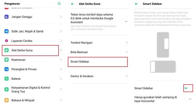 Cara mengaktifkan fitur Smart Sidebar