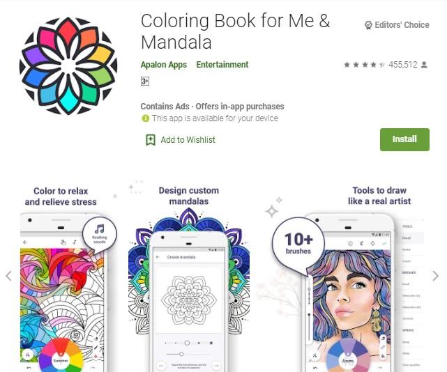 Coloring Book for Me Mandala Aplikasi Mewarnai Gambar