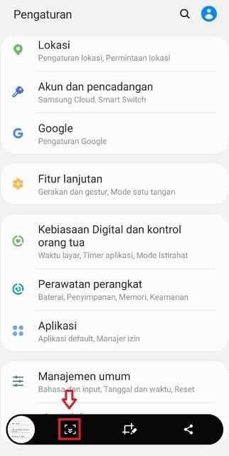 Screenshot panjang Samsung Galaxy A10