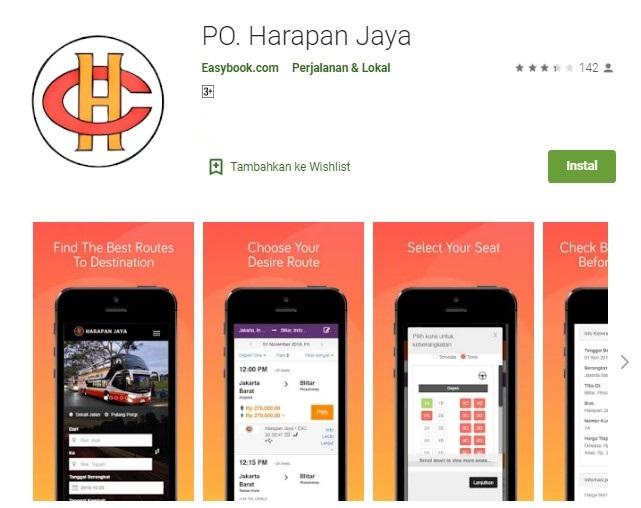 Aplikasi beli tiket bus Harapan Jaya