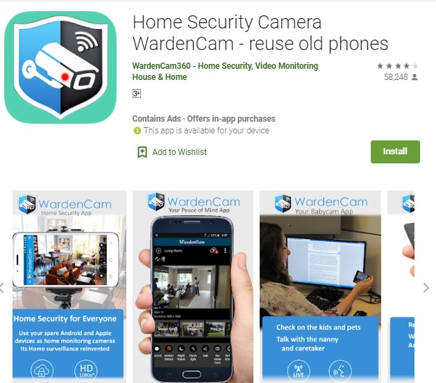 Home Security Camera WardenCam reuse old phones