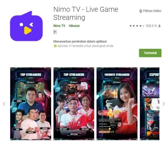 Live Game Streaming Nimo TV