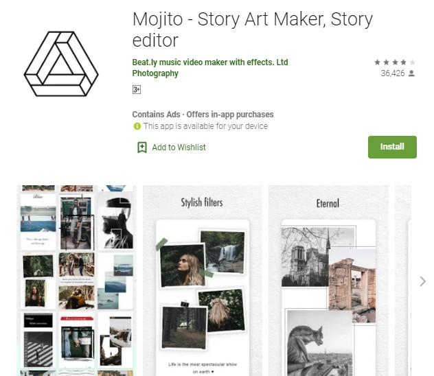 Mojito Story Art Maker Story editor