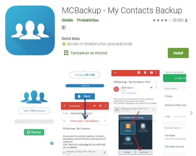MCBackup My Contacts Backup